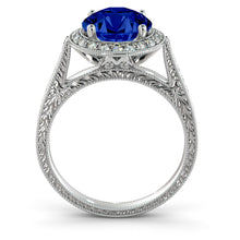 "Load image into Gallery viewer, 2.1 TCW 14K White Gold Blue Sapphire ""Barbara"" Ring"