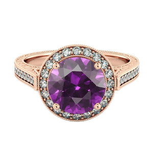 "2.1 TCW 14K Rose Gold Amethyst ""Barbara"" Engagement Ring - Diamonds Mine"