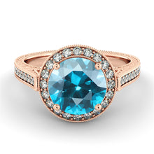 "Load image into Gallery viewer, 2.1 TCW 14K White Gold Aquamarine ""Barbara"" Engagement Ring - Diamonds Mine"