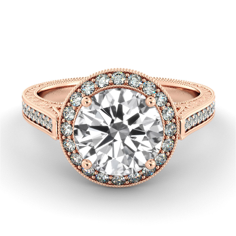 2.2 Carat 14K Moissanite Rose Gold Moissanite & Diamonds