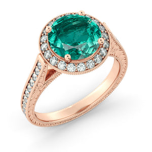 2.1 Carat 14K Rose Gold Emerald & Diamonds