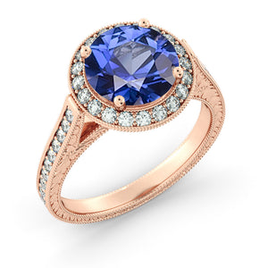 2.1 Carat 14K Rose Gold Blue Sapphire & Diamonds