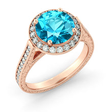 "Load image into Gallery viewer, 2.1 Carat 14K Rose Gold Blue Topaz & Diamonds ""Barbara"" Engagement Ring"