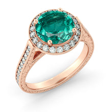 "Load image into Gallery viewer, 2.1 TCW 14K White Gold Emerald ""Barbara"" Engagement Ring"