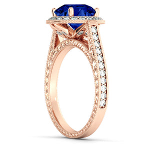 "2.1 Carat 14K Yellow Gold Blue Sapphire & Diamonds ""Barbara"" Ring"