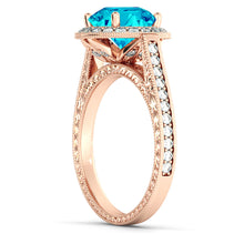 "Load image into Gallery viewer, 2.1 Carat 14K White Gold Blue Topaz & Diamonds ""Barbara"" Engagement Ring"