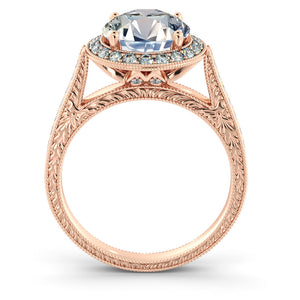 "2.2 Carat 14K Moissanite Rose Gold Moissanite & Diamonds ""Barbara"" Ring"