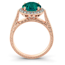 "Load image into Gallery viewer, 2.1 Carat 14K Rose Gold Emerald & Diamonds ""Barbara"" Engagement Ring"