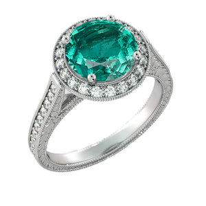 "2.1 TCW 14K White Gold Emerald ""Barbara"" Engagement Ring - Diamonds Mine"