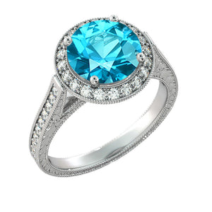 "2.1 TCW 14K White Gold Blue Topaz ""Barbara"" Engagement Ring - Diamonds Mine"