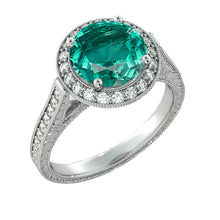 "Load image into Gallery viewer, 2.1 TCW 14K White Gold Emerald ""Barbara"" Engagement Ring - Diamonds Mine"
