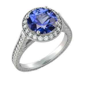 "2.1 TCW 14K White Gold Blue Sapphire ""Barbara"" Ring - Diamonds Mine"