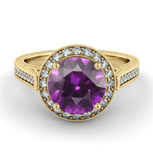 "Load image into Gallery viewer, 2.1 Carat 14K White Gold Amethyst & Diamonds ""Barbara"" Engagement Ring"