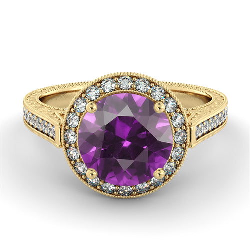 2.1 Carat 14K Yellow Gold Amethyst & Diamonds