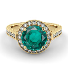 "Load image into Gallery viewer, 2.1  Carat 14K Yellow Gold Emerald & Diamonds ""Barbara"" Engagement Ring"