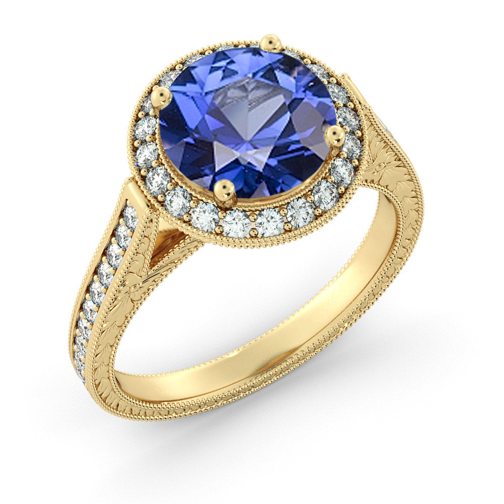 "2.1 TCW 14K Yellow Gold Blue Sapphire ""Barbara"" Ring - Diamonds Mine"