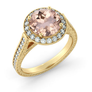 "2.6 Carat 14K Rose Gold Morganite & Diamonds ""Barbara"" Engagement Ring"