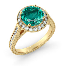 "Load image into Gallery viewer, 2.1 TCW 14K Yellow Gold Emerald ""Barbara"" Engagement Ring - Diamonds Mine"