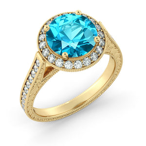 "2.1 Carat 14K Rose Gold Blue Topaz & Diamonds ""Barbara"" Engagement Ring"