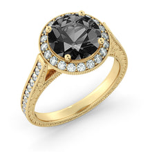 "Load image into Gallery viewer, 2.6 TCW 14K White Gold Black Diamond ""Barbara"" Engagement Ring"