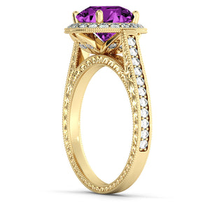 "2.1 Carat 14K White Gold Amethyst & Diamonds ""Barbara"" Engagement Ring"
