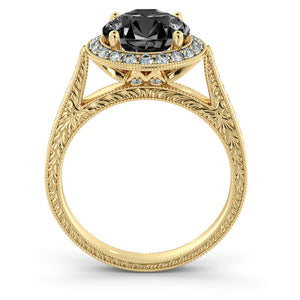 "2.6 TCW 14K White Gold Black Diamond ""Barbara"" Engagement Ring"