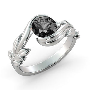 "1 Carat 14K White Gold Black Diamond ""Felicia"" Engagement Ring - Diamonds Mine"