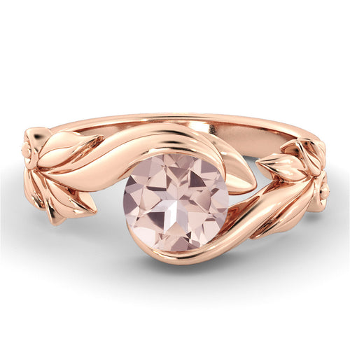 "1 Carat 14K Rose Gold Morganite ""Felicia"" Engagement Ring - Diamonds Mine"
