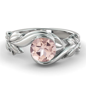 "1 Carat 14K White Gold Morganite ""Felicia"" Engagement Ring"