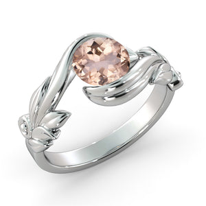 "1 Carat 14K Rose Gold Morganite ""Felicia"" Engagement Ring 