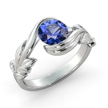"Load image into Gallery viewer, 1 Carat 14K Yellow Gold Blue Sapphire ""Felicia"" Engagement Ring"