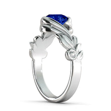 "Load image into Gallery viewer, 1 Carat 14K Rose Gold Blue Sapphire ""Felicia"" Engagement Ring"
