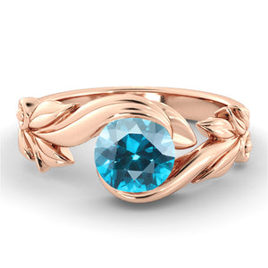 "1 Carat 14K Yellow Gold Blue Topaz ""Felicia"" Engagement Ring"
