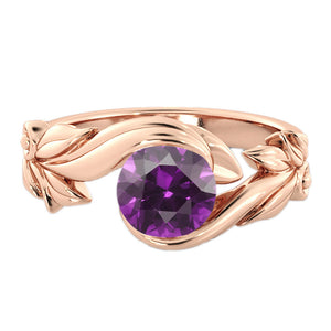 "1 Carat 14K Rose Gold Amethyst ""Felicia"" Engagement Ring - Diamonds Mine"