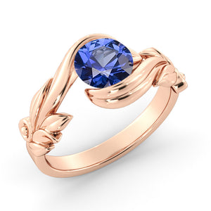 "1 Carat 14K Rose Gold Blue Sapphire ""Felicia"" Engagement Ring"