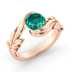 "1 Carat 14K Yellow Gold Emerald  ""Felicia"" Engagement Ring"