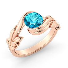 "Load image into Gallery viewer, 1 Carat 14K Yellow Gold Blue Topaz ""Felicia"" Engagement Ring"