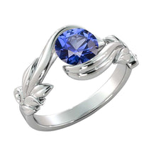 "Load image into Gallery viewer, 1 Carat 14K White Gold Blue Sapphire ""Felicia"" Engagement Ring - Diamonds Mine"