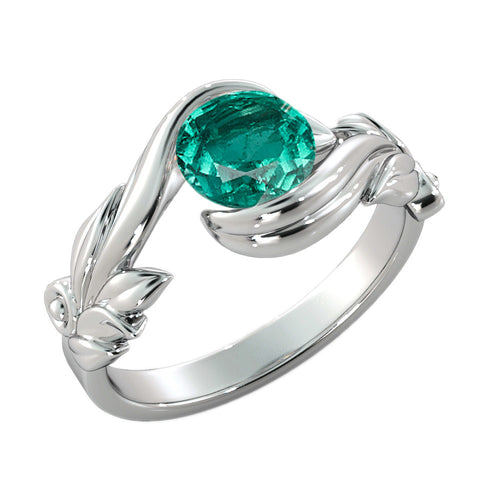 "1 Carat 14K White Gold Emerald  ""Felicia"" Engagement Ring - Diamonds Mine"