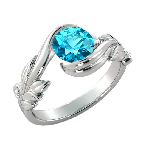 "1 Carat 14K White Gold Blue Topaz ""Felicia"" Engagement Ring - Diamonds Mine"