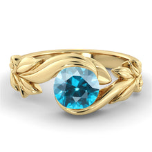 "Load image into Gallery viewer, 1 Carat 14K Yellow Gold Aquamarine ""Felicia"" Engagement Ring"
