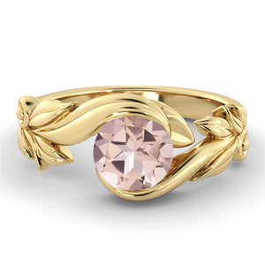 "1 Carat 14K Yellow Gold Morganite ""Felicia"" Engagement Ring"