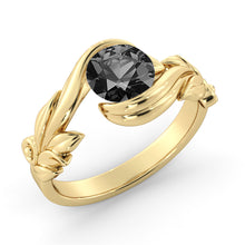 "Load image into Gallery viewer, 1 Carat 14K White Gold Black Diamond ""Felicia"" Engagement Ring - Diamonds Mine"