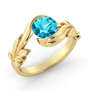 "1 Carat 14K Rose Gold Blue Topaz ""Felicia"" Engagement Ring"