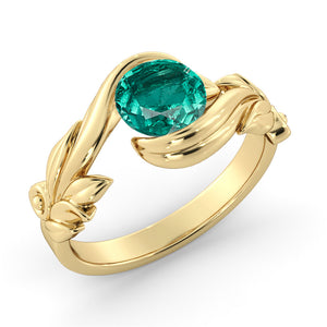 "1 Carat 14K Rose Gold Emerald  ""Felicia"" Engagement Ring"