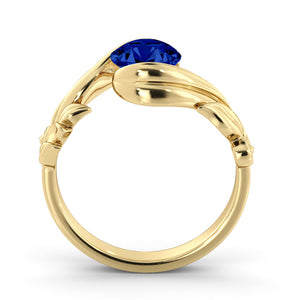 "1 Carat 14K Yellow Gold Blue Sapphire ""Felicia"" Engagement Ring"