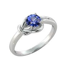 "Load image into Gallery viewer, 0.5 Carat 14K White Gold Blue Sapphire ""Laura"" Engagement Ring - Diamonds Mine"