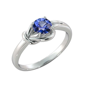 "0.5 Carat 14K White Gold Blue Sapphire ""Laura"" Engagement Ring - Diamonds Mine"
