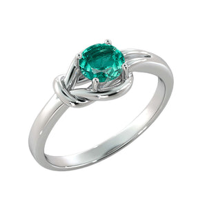 "0.5 Carat 14K White Gold Emerald ""Laura"" Engagement Ring - Diamonds Mine"