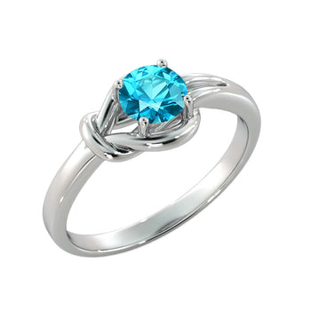 "0.5 Carat 14K White Gold Blue Topaz ""Laura"" Engagement Ring - Diamonds Mine"